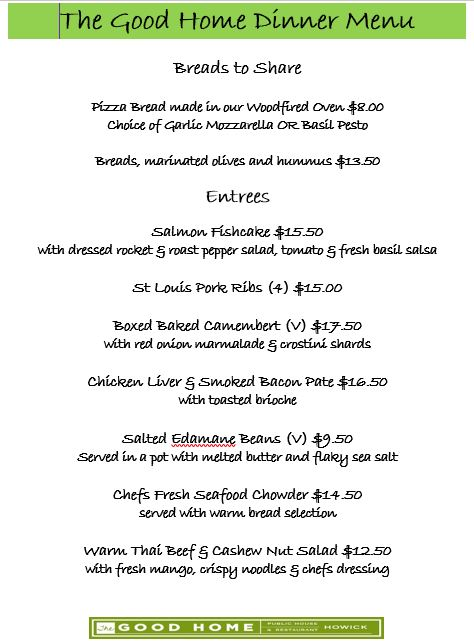 Sept 2017 Dinner Menu Entrees